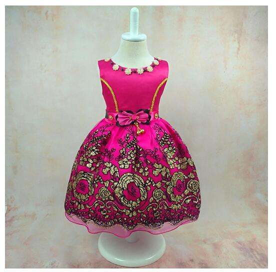 Baby Girls Formal Dresses 2017 Lace Flowers Infant Girl's Princess tutu Dress Toddler Gowns Kids Birthday Party Dress Fuschia half sleeve toddler girls show performance lace flowers white christening noble wedding princess bowknot party formal dress