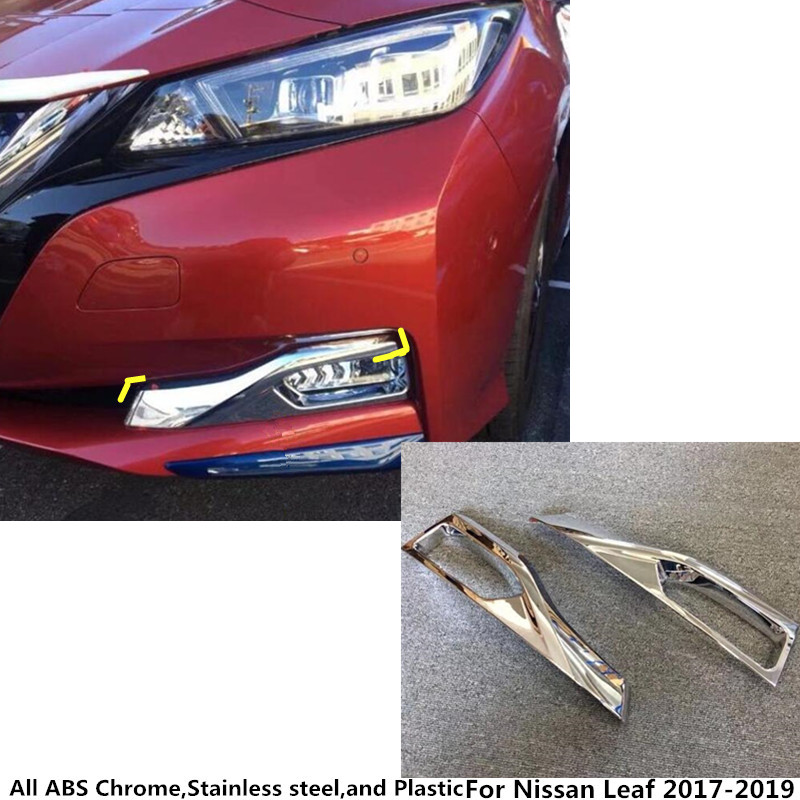 For Nissan Leaf 2017 2018 2019 car body Styling front fog light lamp detector frame stick ABS Chrome cover trim part Frame 2pcs