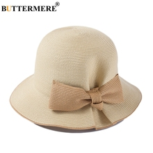 BUTTERMERE Bucket Hat For Women Beige Straw Japanese Sun Caps Female Bow Elegant Summer Beach UV Ladies Brand Fishing Hats