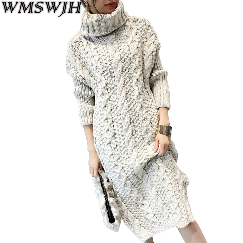 Wmswjh Spring Women Sweater Dresses Winter Long Sweaters Knitted Warm Turtleneck Sweater Twisted Thickening Slim Pullover Tops