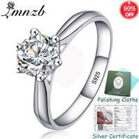 36cb7ffbcedc 90 OFF Have Original Certificate 925 Solid Silver Wedding Ring Solitaire  1Ct 6mm CZ Zircon Engagement
