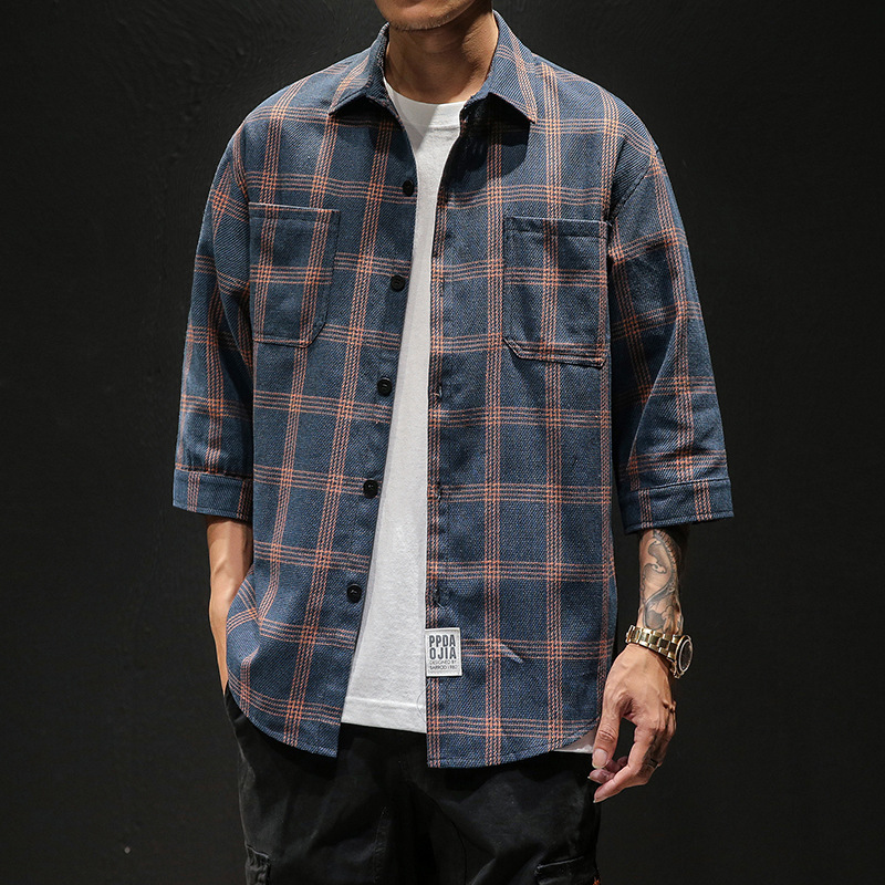 Casual Mens Three Quarter Shirt Japanese Streetwear Plaid Stripe Korean Shirt For Men Flannel Vintage Chemise Shirt Men Clothes