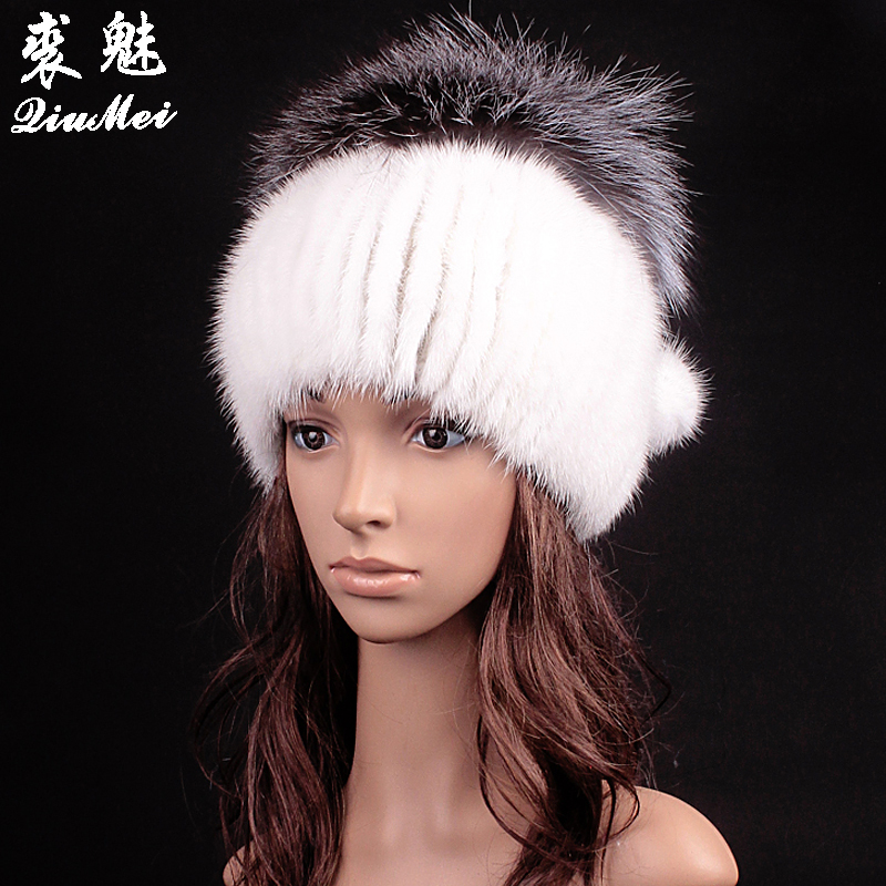 QiuMei Women Winter Hat Tailor 2018 New Real Fur Pom Fluffy Ball Hat Cap Fox Ball Mink Fur Fashion Russian Cap Hat For Women