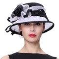 Джун молодых женщин шляпы летнее солнце Sinamay шляпы 100% Sinamay материал горячая распродажа мода леди черный белый цвет ну вечеринку Fedoras шляпы