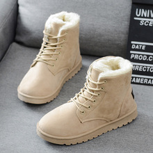 Women Boots Faux Suede Winter Lace Up Ankle Warm Fur Shoes Solid Snow Leather