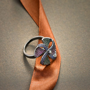 Image 3 - Viennois בציר כסף צבע נחושת אצבע טבעת עבור נשים צבעוני זירקון סלול טחנת רוח נשי גודל טבעת מסיבת תכשיטים