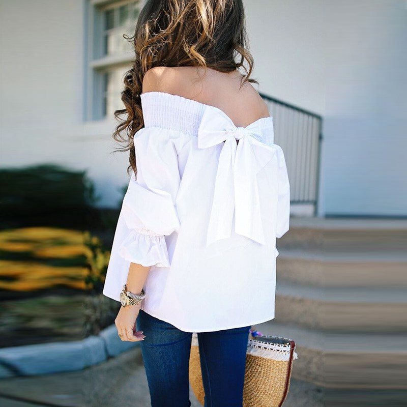 2018 Sexy Off Shoulder Spring Summer Strapless Women Blouse Bow knot Tops Slash Neck Shirts Casual Loose White Blusas