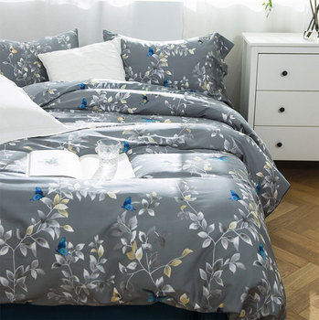 pastoral plant bedding set adult teen,full queen king cotton butterfly leaf double home textile bedsheet pillow case duvet cover