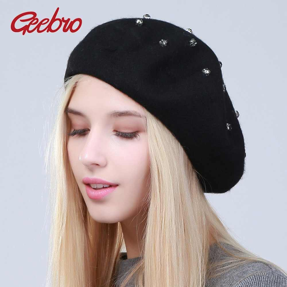 0f5598a25a3 Detail Feedback Questions about Geebro Women s Beret Hat Fashion Solid  Color Wool Knitted Berets With Rhinestones Ladies French Artist Beanie  Beret Hat ...