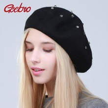 Geebro damski Beret kapelusz moda solidna kolorowa wełna dzianiny berety z dżetów panie francuski artysta Beanie Beret kapelusz GS104 tanie tanio Kobiety Dla dorosłych Stałe Akrylowe COTTON Na co dzień Cashmere