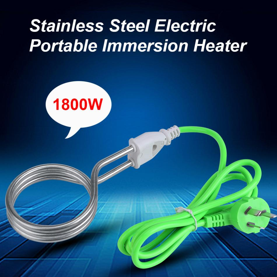 1800W 220V Water Heater Stainless Steel Electric Portable Immersion ...