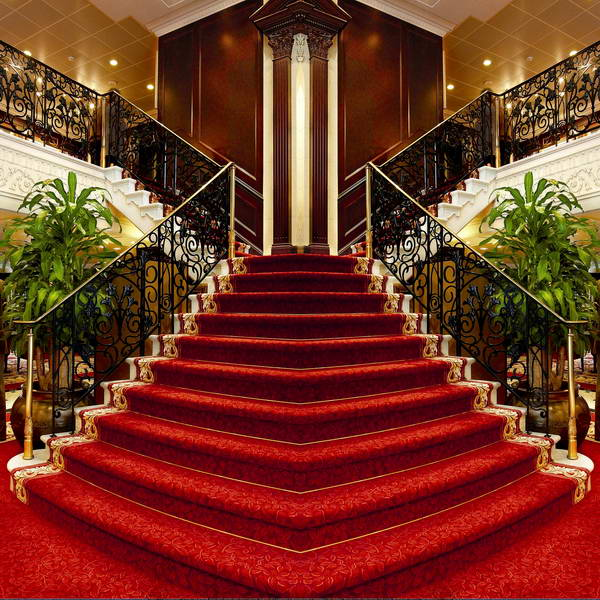 Red Grand Double Staircase Room Photography Backgrounds