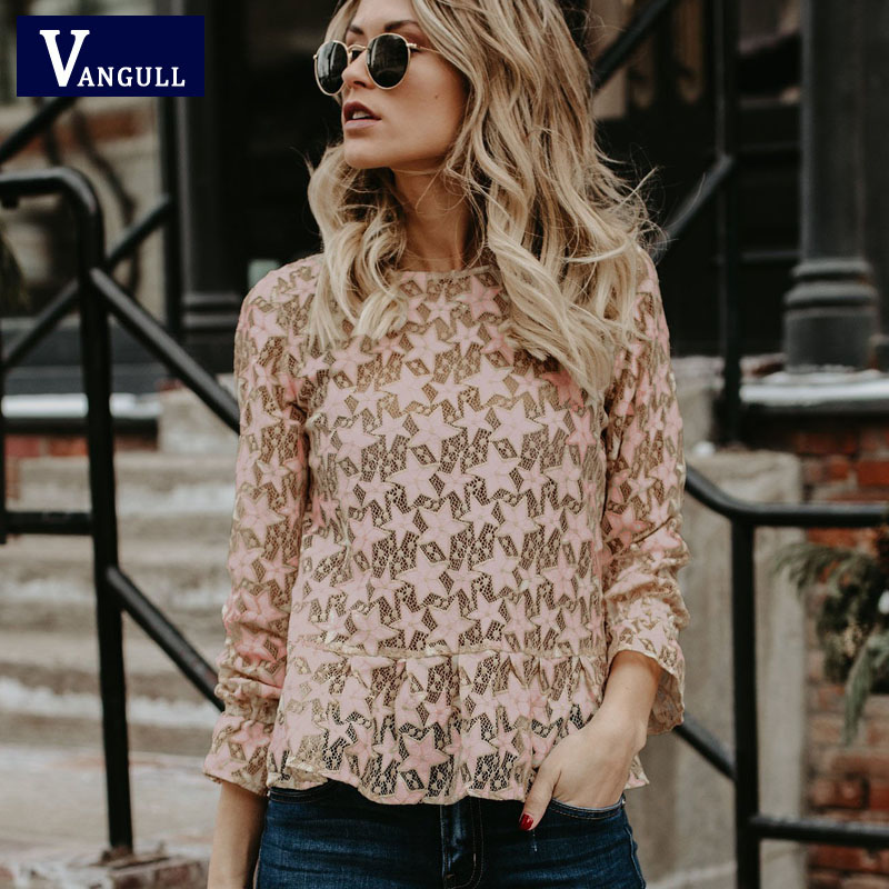 VANGULL women tops Summer 2019 sexy Hollow Out Lace   Blouse     Shirt   Ladies women Long Sleeve casual Loose White office   blouse   Tops