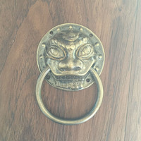 Special offer! Chinese antique copper copper lion head door handle small wooden door handle Shoutou copper handle