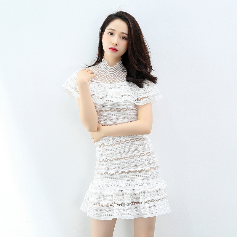 Elegant Cloak Sleeves Mini Dress 2017 Summer Runway Designer White Solid  Hollow Out Lace Falbala Sweet e4f3a3d36913