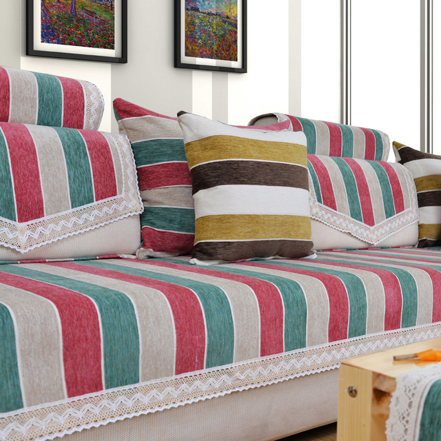 Chenille Flocked Striped Sectional Couch Covers Modern Brief L Shaped Sofa  Covers Fabric Housse Canape Set