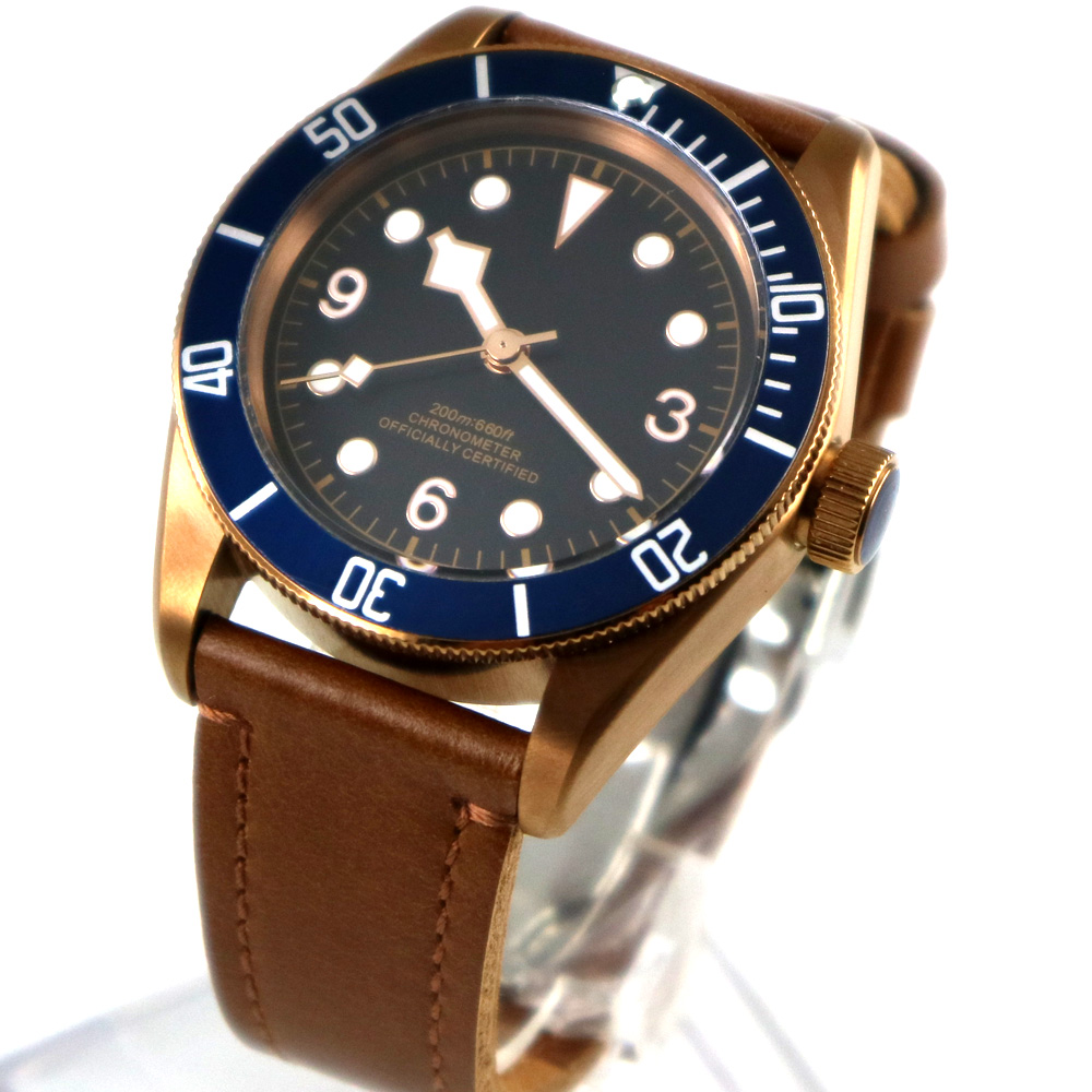 41mm Corgeut bronze PVD case Blue bezel miyota Automatic Men s Watch Sapphire Glass Sterile Dial
