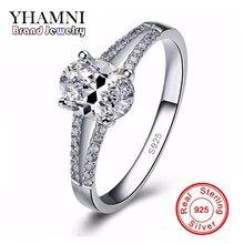 09520ca7b8c6 Promoción! Yanhui marca de moda real 100% 925 plata esterlina anillo de  boda joyería 2 CZ Diamant Anillos para las mujeres ar0.
