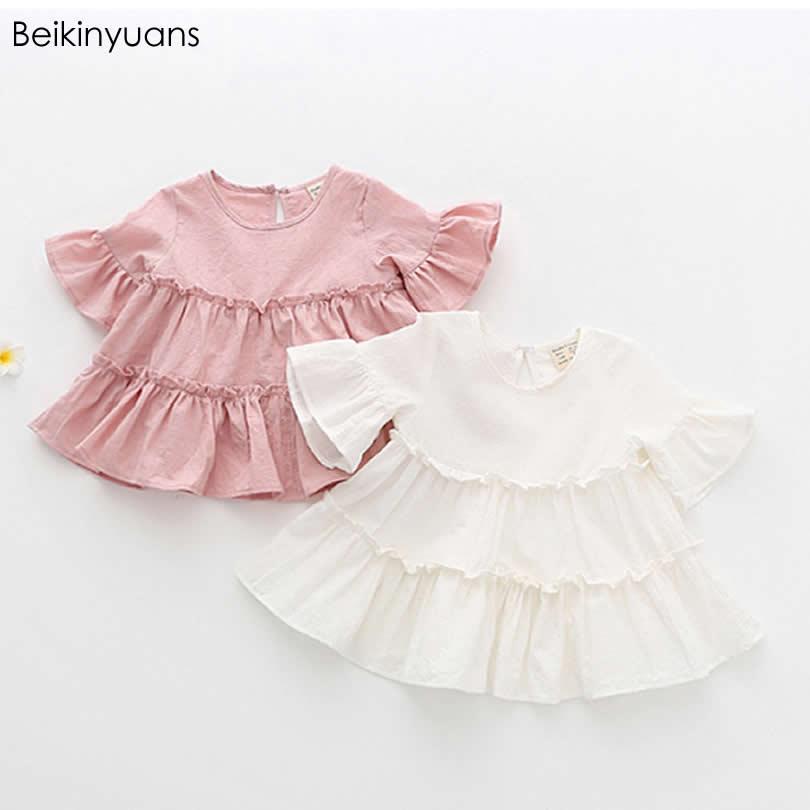 2017Summer New Girls Cake Layer Doll Shirt Children's Lotus Sleeve Shirts Short Sleeve Cotton Korean Version