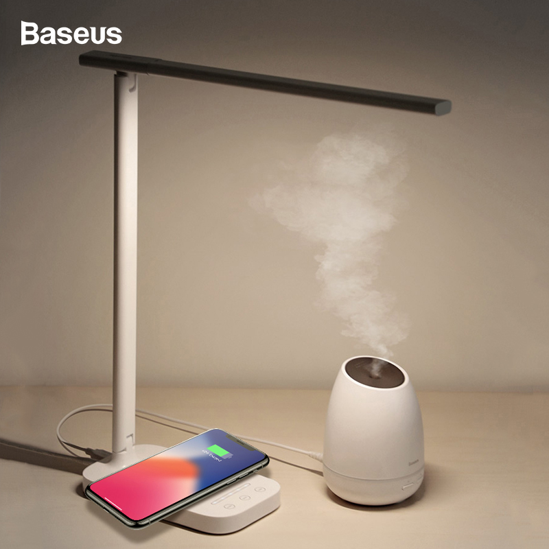 Baseus Desktop Lamp Light Qi Wireless Charger For iPhone Xsmax Xs X 8 Folding Table Lamp