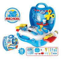 18pcs DIY Doctor Simulation Medicine Box toy Syringe glasses Oral mirror Scene simulation parent-child interaction Children gift