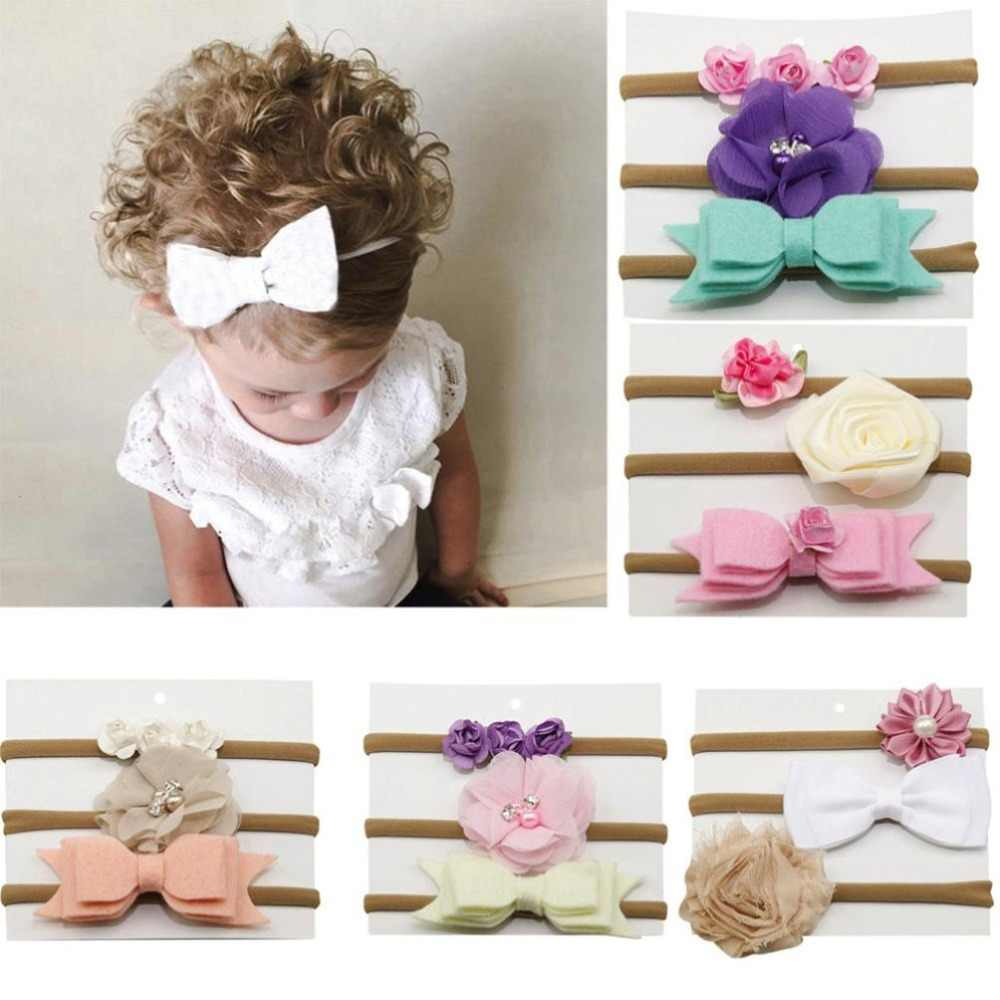 Photography props 3Pcs Kids Elastic Floral Headband Hair Girls baby Bowknot Hairband Set cute baby accessories 0718