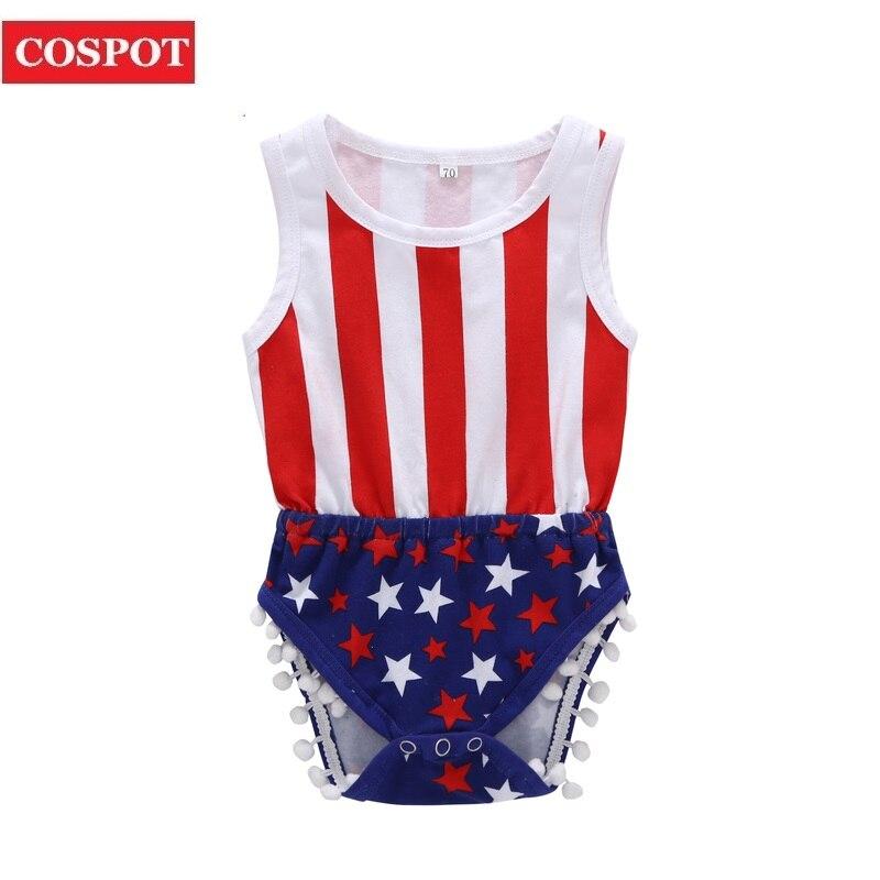 COSPOT July 4th Bodysuit Baby Boys Girls Summer Jumpsuit 4th July Bebes Newborn Kids Baby Boy Girl Clothes Stars Stripes 40D