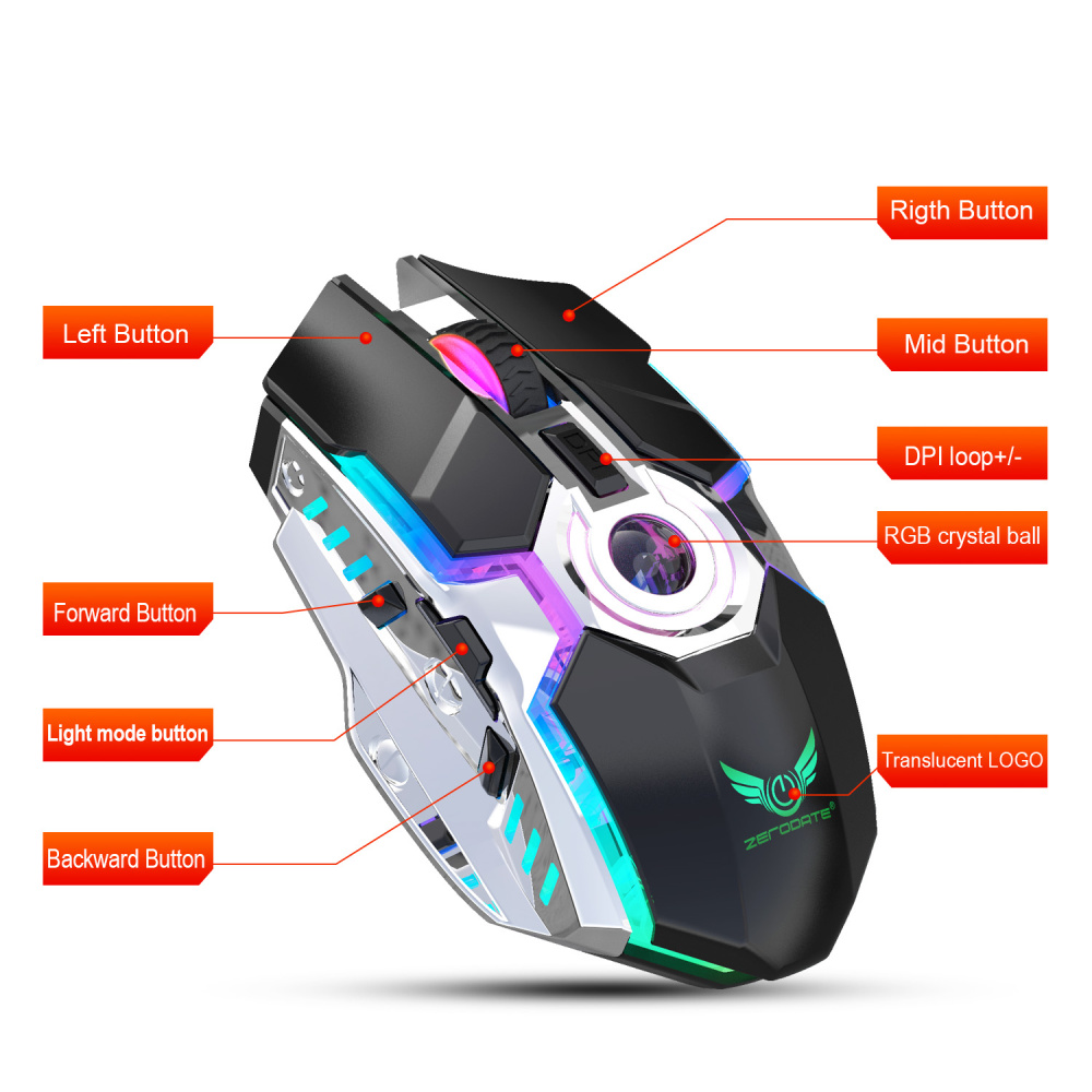 ZERODATE new rechargeable mouse RGB light wireless mouse 2 4G adjustable DPI game player office PC notebook application in Mice from Computer Office
