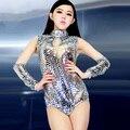 #2008 Sexy cantora dança Moderna traje bodysuit Sequin Roupas feminina trajes Sexy figurinos para os cantores