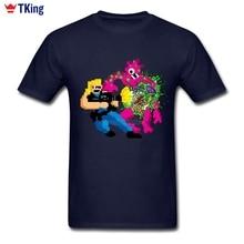 New Brand-clothing Bit Guts Tshirt Men 3d Printer O-neck Cotton Big Size Short Sleeve Colours Mosaic Cartoon Men T-shirt