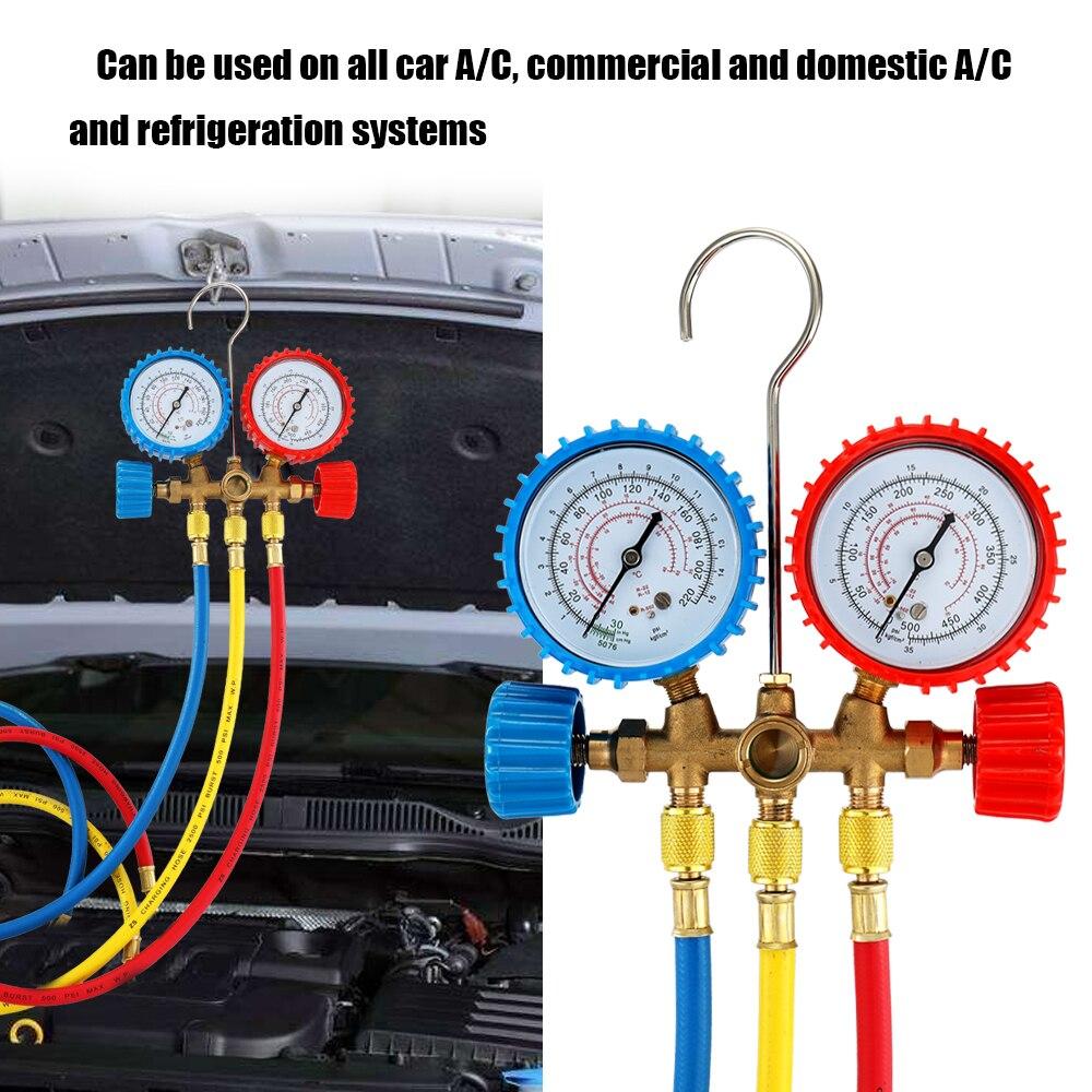 Réfrigérant Manifold Gauge Set Climatisation Outils avec Tuyau et Crochet pour R12 R22 R404A R134A Air Conditionné et Réfrigération