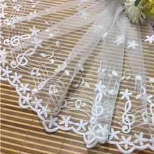 1Yard 35cm Delicate Embroidered Fabric Flower Tulle Lace Trim Musical Notes African Sewing Accessory