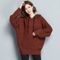 Women Loose Clothes Large Size Casual Women S Sweater Spring Winter Hooded Bat Sleeve Knit Warm
