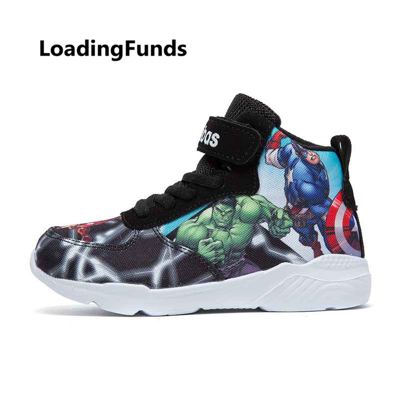 LoadingFunds Kid Sneakers Boy Basketball Shoes Running Shoes The Avengers Baby Children shoes Sport boot Cartoon gamin chaussure(China)
