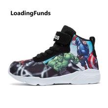 LoadingFunds/Детские сникерсы; Баскетбольная обувь для мальчиков; обувь для бега; Мстители; детская спортивная детская обувь; обувь с героями мультфильмов; кросовки