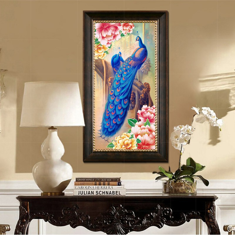 New Design 5d Diy Home Decor Round Diamond Full Embroidery Peacock Painting Cross Stitch China
