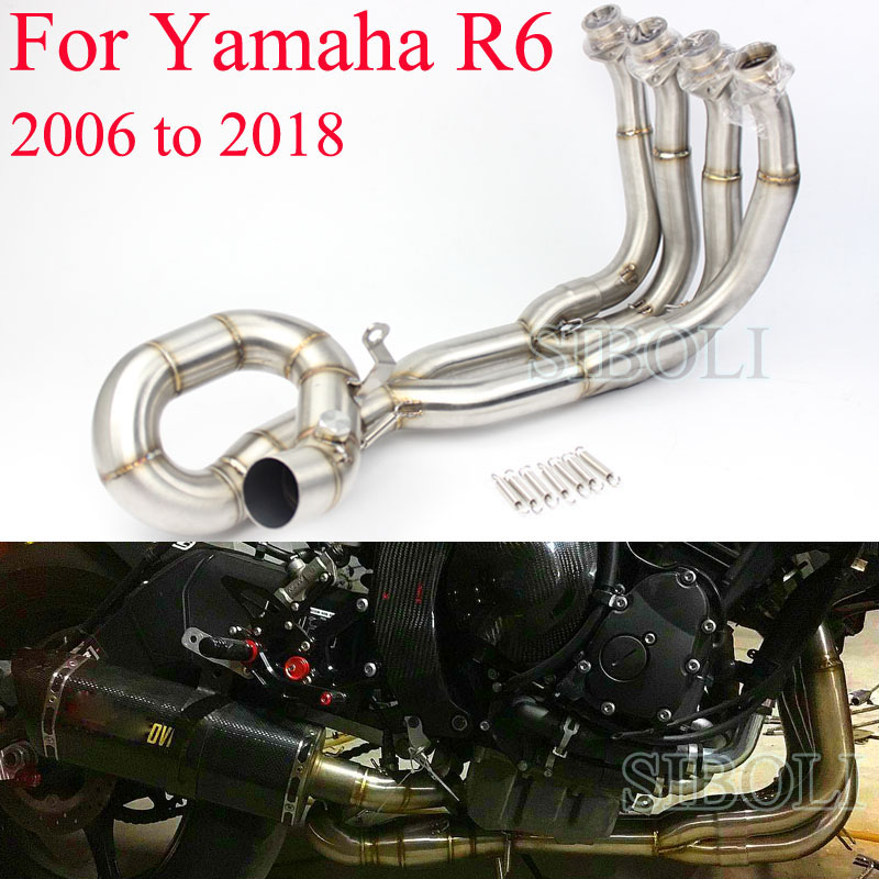 r6 motorcycle full systems exhaust without muffler slip on pipe for yamaha r6 2006 2007 08 2009 2010 2011 12 13 14 15 16 17 2018