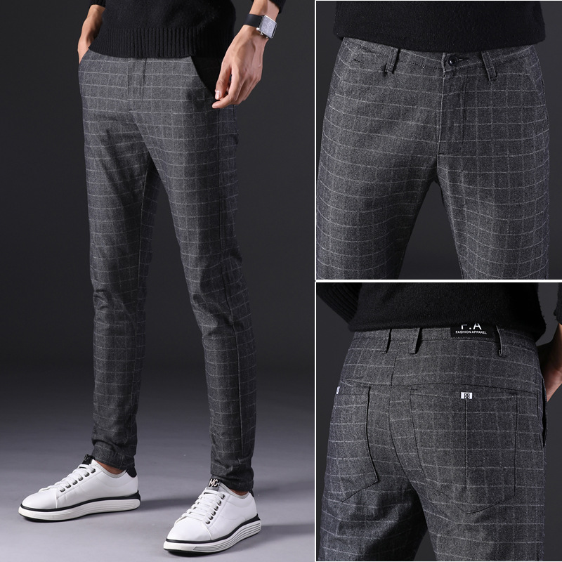 Men's Pants Business-Suit Casual Trousers Brown Plaid Straight Large-Size Cotton Fashion