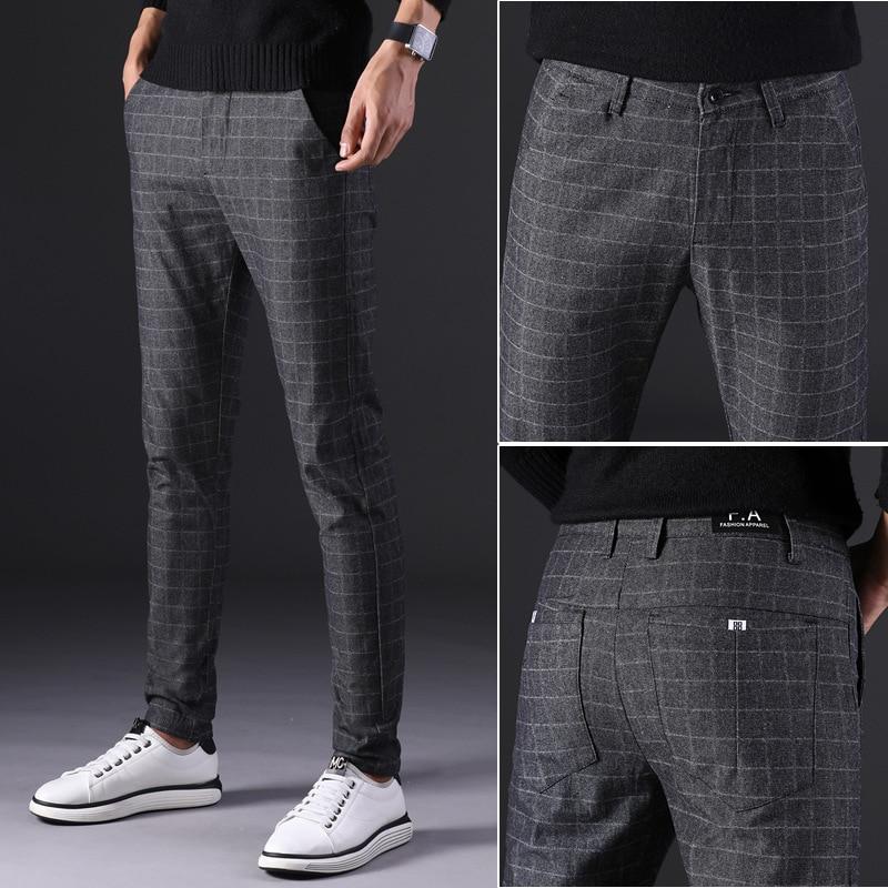 2019 New Men's Pants Straight Loose Casual Trousers Large Size Cotton Fashion Men's Business Suit Pants Plaid Brown Grey Cotton