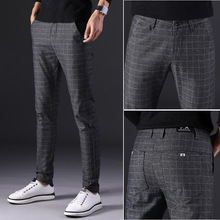 2019 New Mens Pants Straight Loose Casual Trousers Large Size Cotton Fashion Mens Business Suit Pants plaid Brown Grey cotton