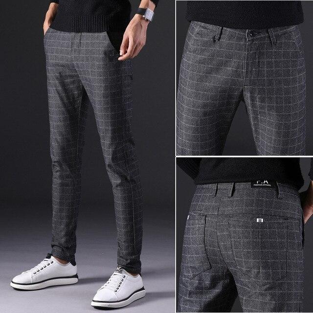 2019 novas calças masculinas em linha reta soltas calças casuais tamanho grande algodão moda masculina terno de negócios calças xadrez marrom cinza algodão