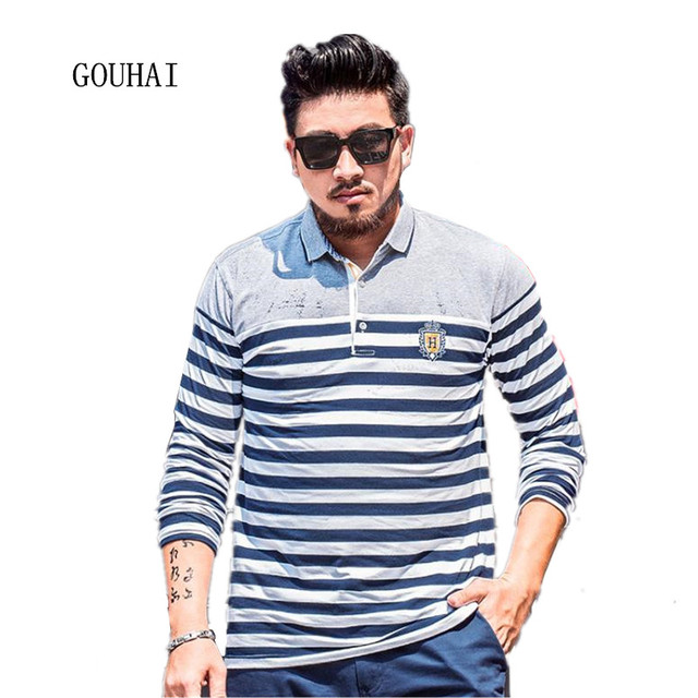 Men Polo Shirt Long Sleeve Cotton Plus Size XXL-7XL Male Cotton Polo Shirts Striped Loose Casual Shirts Breathable
