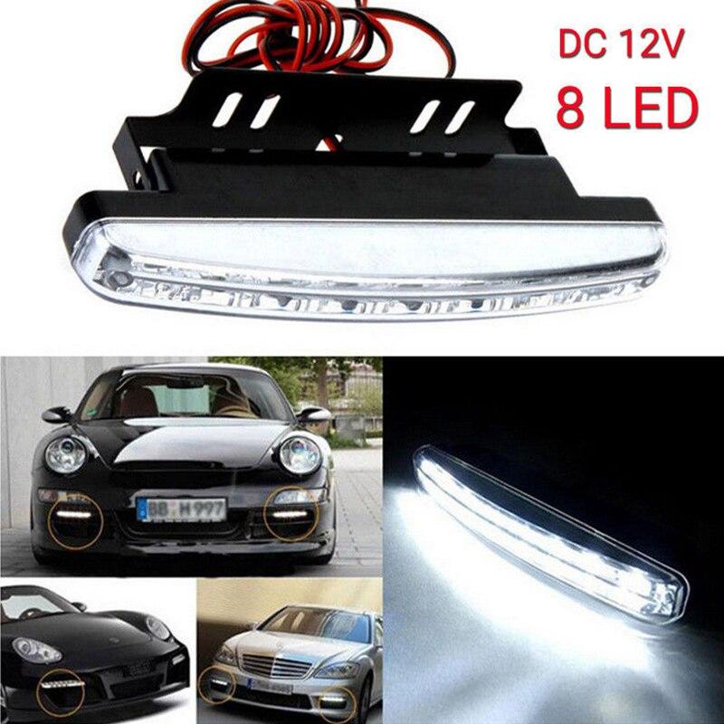 Hot Sale 1Pc Car Daytime Running Lights 8 LED DRL Daylight Kit Light DC 12V Driving Fog Lamp Car Styling DIY White Light