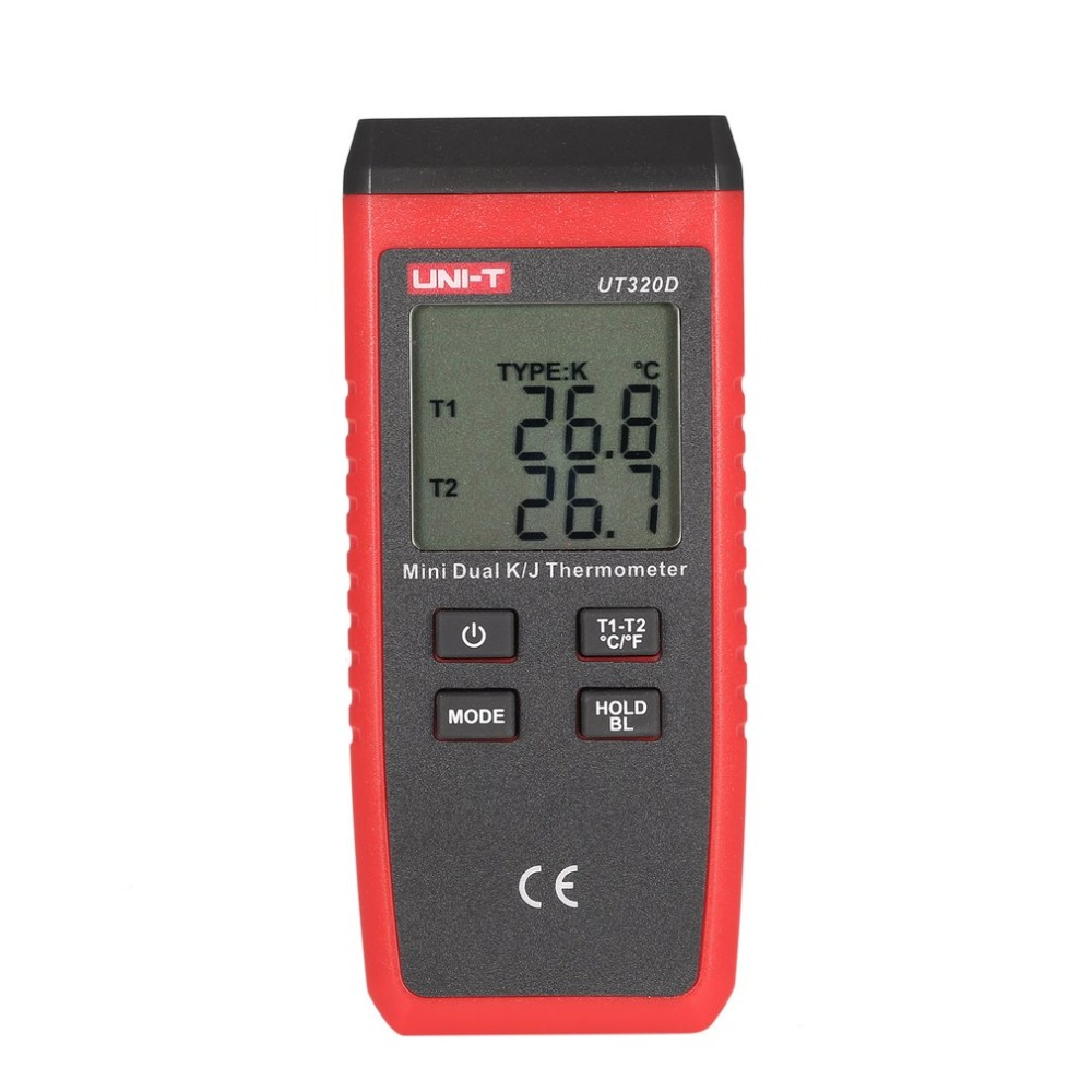 UNI-T UT320A UT320D Thermometer K/J Type Dual-CH Digital Thermocouple Thermometer Handheld Temperature Meter with Sensor Probe цена