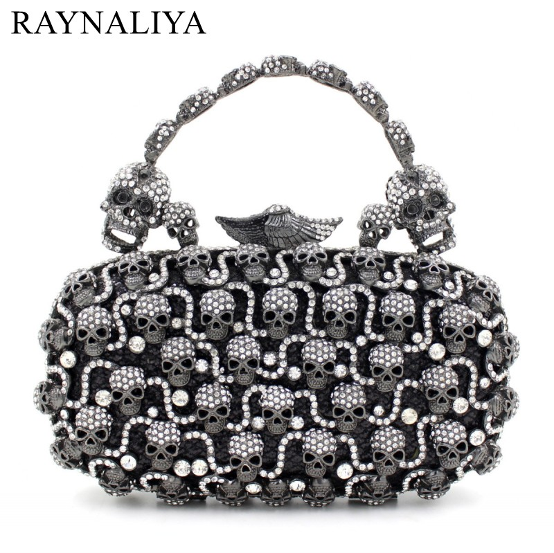 Latest Skull Shape Evening Bags Luxury Crystal Clutches Diamond Party Purse Wedding Bride Banquet Bag Handbag Smyzh-e0035 top design red crystal evening bag roundness luxury clutch bags wedding party purse prom handbag silver banquet bag day clutches