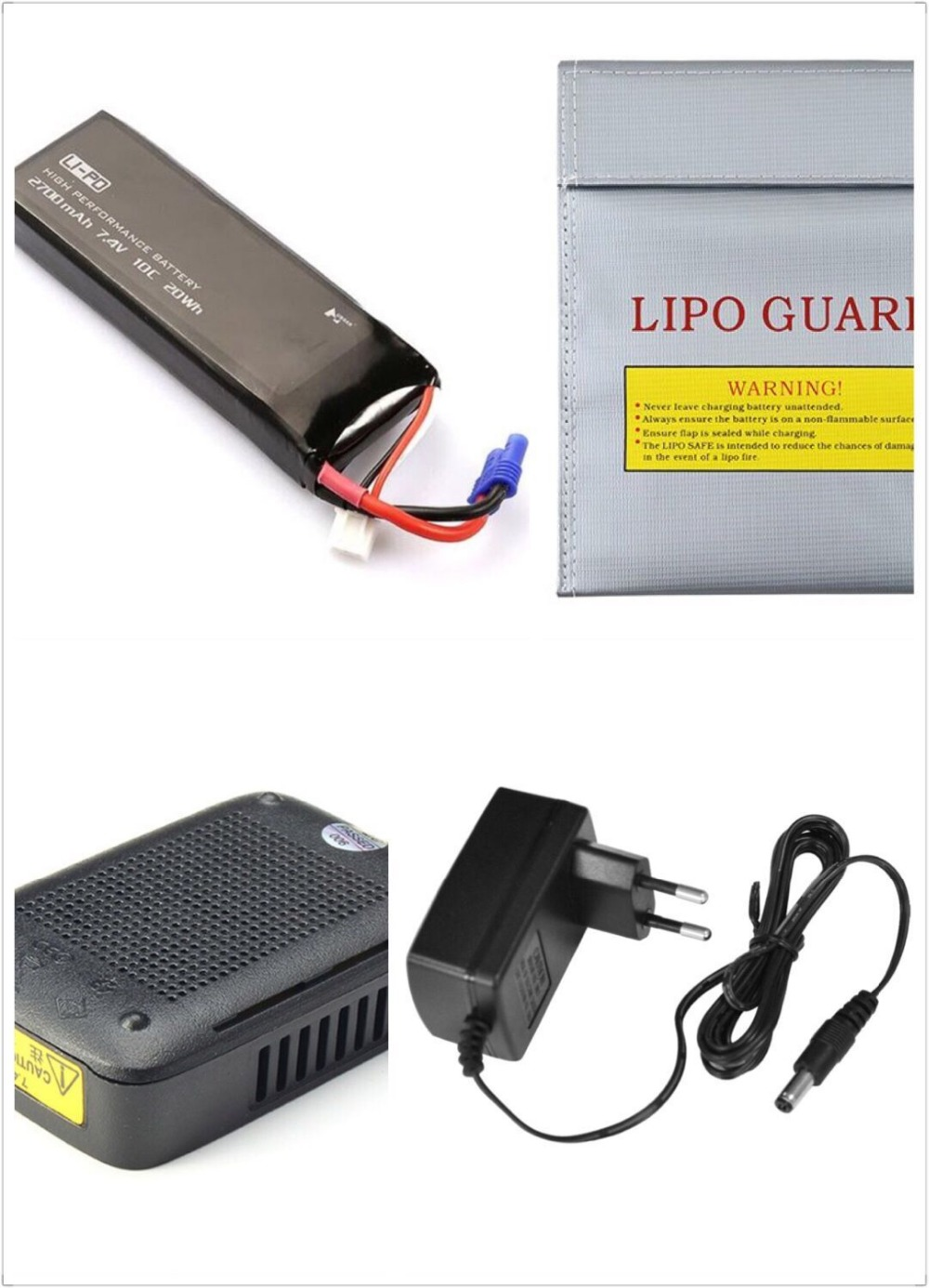 Original Hubsan H501S X4 RC Quadcopter Spare Parts 7.4V 2700mAh 10C lipo Battery with charger adapter safe bag Combo