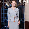 Beauty Salon Workwear Embroider DIY Logo Uniform Guide Shopping Uniforms V Neck Gray Top+Pencil Skirt Suit Reception Clothing