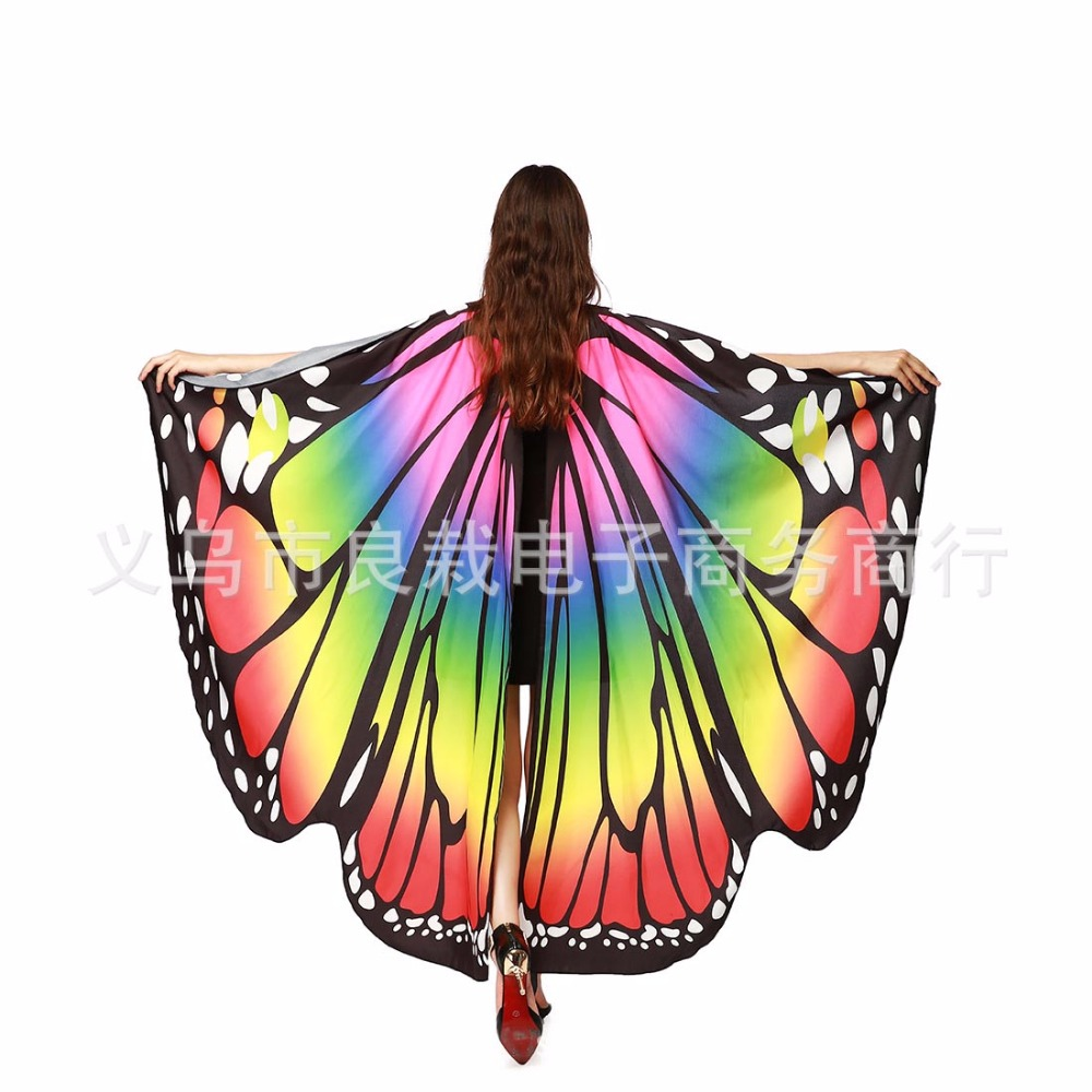 2019 Women Butterfly wing Shawl Women casual party fun dress or Women Colorful lady Chiffon Butterfly Wings Dancewear Cosplay