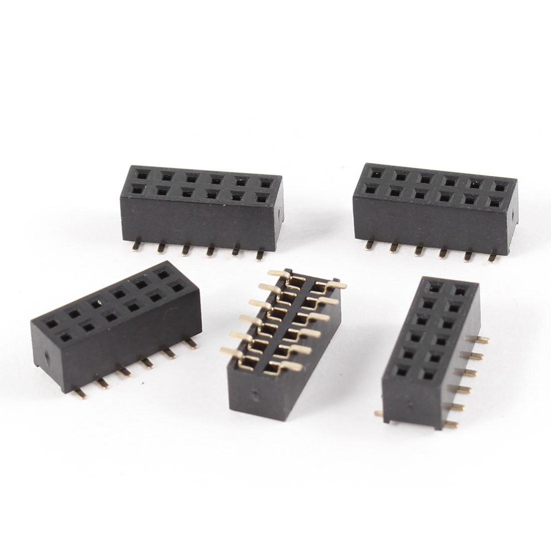 цены  UXCELL 5Pcs Double Row 2Mm Pitch 2X6 Pins Smt Smd Female Header Socket