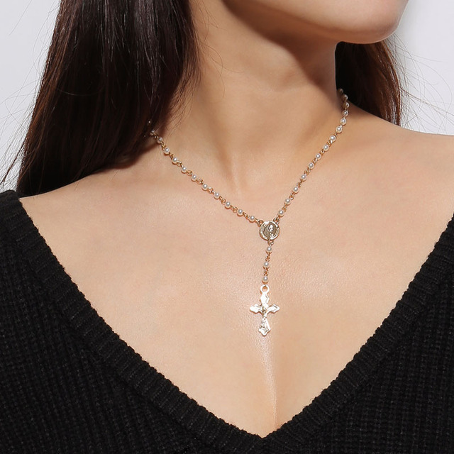 Vintage catholic rosary beads cross necklaces pendants women gold vintage catholic rosary beads cross necklaces pendants women gold chain choker necklace silver pearl religious statement aloadofball Image collections